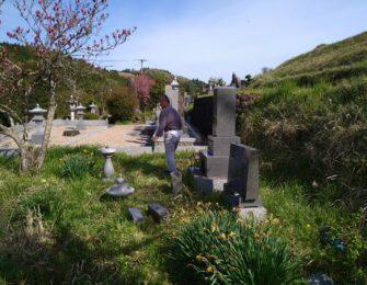 旧墓地より、石碑・副碑・灯篭を移設します